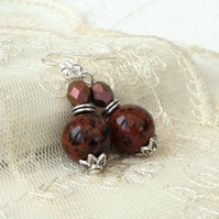 Mahogany obsidian and bronze crystal earrings