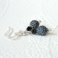 Black & white fire agate and crystal earrings