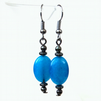 Cyan blue quartz and hematite earrings