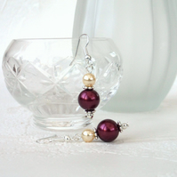 Red shell pearl earrings, with cream crystal pearl by Swarovski