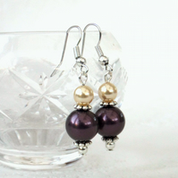 Mocha shell pearl earrings, with cream crystal pearl by Swarovski