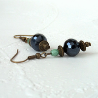 Jet crystal and bronze earrings, vintage inspired earrings