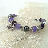 Purple and silver gemstone & crystal handmade bracelet with heart charm