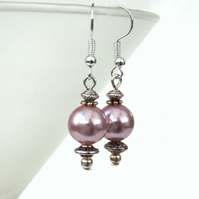 Dusky pink shell pearl earrings
