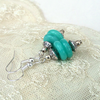 Turquoise blue earrings, dangly quartz earrings