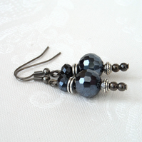 Jet crystal earrings with gunmetal wires