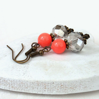 Living coral & crystal vintage style earrings