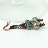 Delicate green crystal copper earrings, vintage inspired