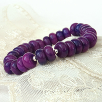 Purple jasper gemstone bracelet, stretchy bracelet
