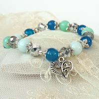 Blue and turquoise gemstone & crystal handmade bracelet with heart charm
