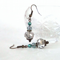 Bronze earrings, with three colour crystals, vintage inspired