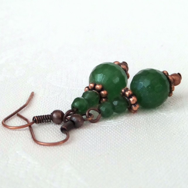 Green agate and onyx earrings with copper