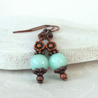 Pale turquoise jade and copper earrings