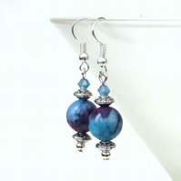 Blue & purple rainflower stone earrings
