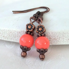 Living coral jade and copper earrings