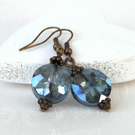 Delicate blue crystal coin earrings with bronze beadcaps