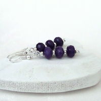 Purple jade dangly earrings