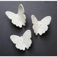 Butterflies wall art in porcelain with sterling silver wire set of three