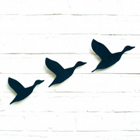 Midnight flock Flying ducks wall art Set of three in navy blue ceramic