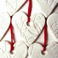 5 Porcelain Heart Decorations