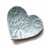 Blue lace heart plate Gift Ideas for her For Mum Pretty Home decor Wedding