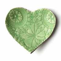 Sweetheart plate Lime green ceramic pottery with vintage lace texture