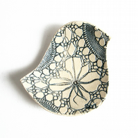 Ceramic bowl Lacy bird bowl