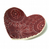 Ruby Red Lacy Heart Plate Wedding Gift Ideas Wedding Gifts under 25