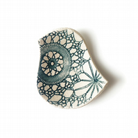 Lacy Bird Bowl Teal and Cream Ceramic