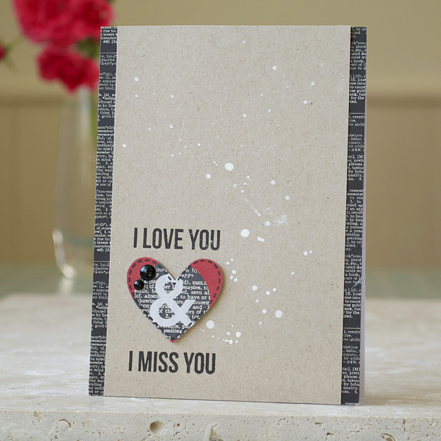 Handmade Miss You Card For Him Folksy