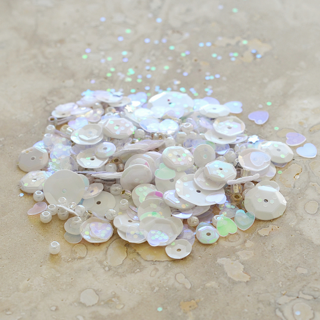 Sparkly Sequin, Glitter and Bead Assortment - Bridal White