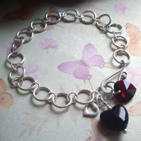 Dark Hearts Gemstone Bracelet