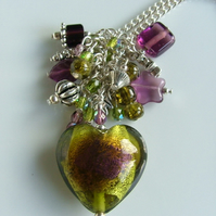 Olive Heart Charm Necklace