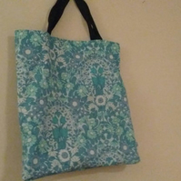 Shopping bag - Bright blue and green vintage floral fabric re-useable bag