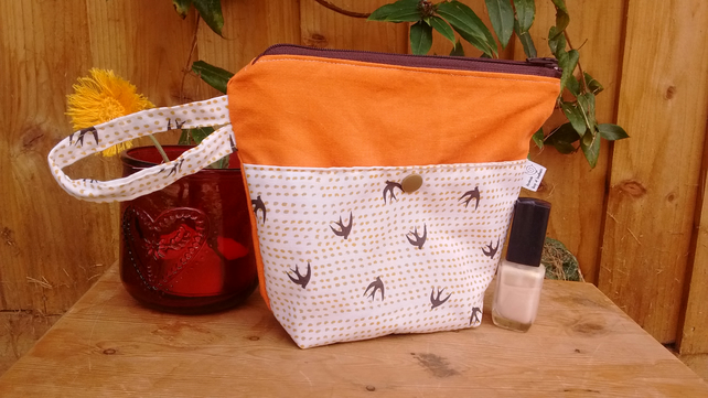 Small yellow bird print make-up bag