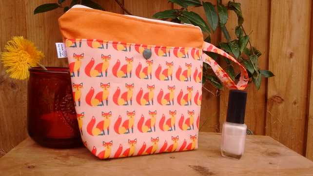 small foxy fox print and orange zipped make-up bag