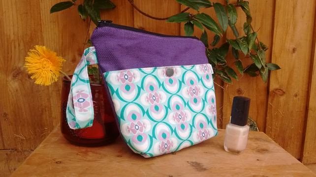 Small purple and green abstract print make-up bag