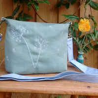 Free motion embroidered dandelion clock cross-body bag