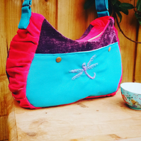 Embroidered dragonfly messenger bag with pockets