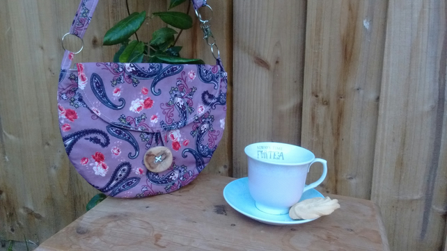 Dusky pink paisley print clutch, shoulder bag or crossbody with matching purse