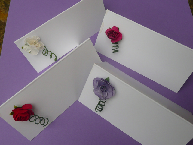 Handmade Rose Wedding Place Card - various colours, party