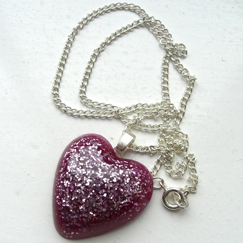 Magenta Heart resin pendant FOR CHILDREN IN NEED
