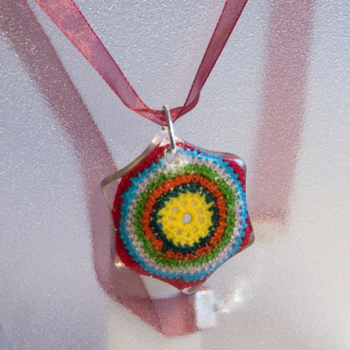 Vibrant Crochet and Resin OOAK Necklace FOR COMIC RELIEF