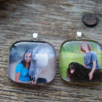 Personalised Photo Glass Tile Pendant FOR COMIC RELIEF