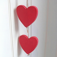 Wooden red hearts FOR COMIC RELIEF