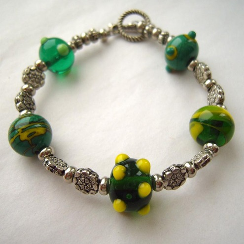 Green Goblin lampwork bracelet FOR COMIC RELIEF