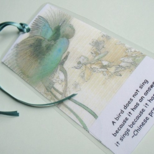 Bird with motto bookmark FOR COMIC RELIEF