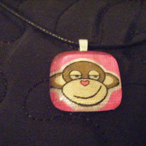 Cheeky Monkey Heart Nose Glass Tile Pendant FOR COMIC RELIEF