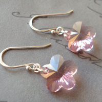 Pink Mini Spring Time Crystal Flower Earrings FOR COMIC RELIEF
