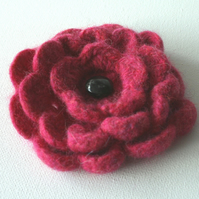 Pink Wool Flower Corsage FOR COMIC RELIEF